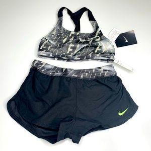 Nike Swim / Workout Two Piece Black Gray Size 10